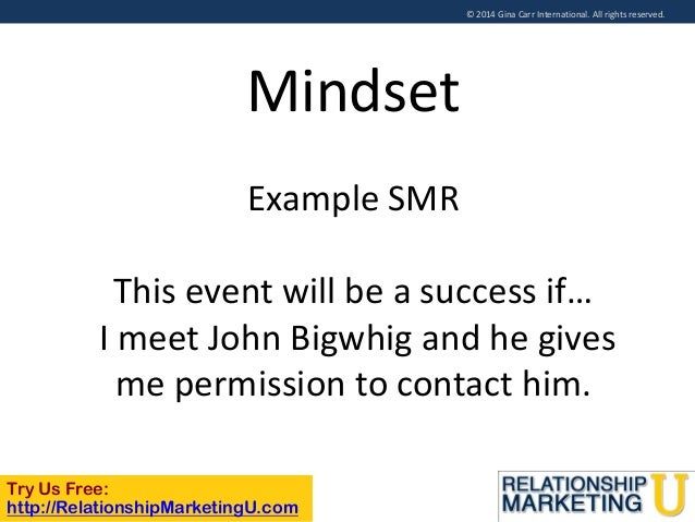 © 2014 Gina Carr International. All rights reserved.  Mindset Example SMR  This event will be a success if… I meet John Bi...