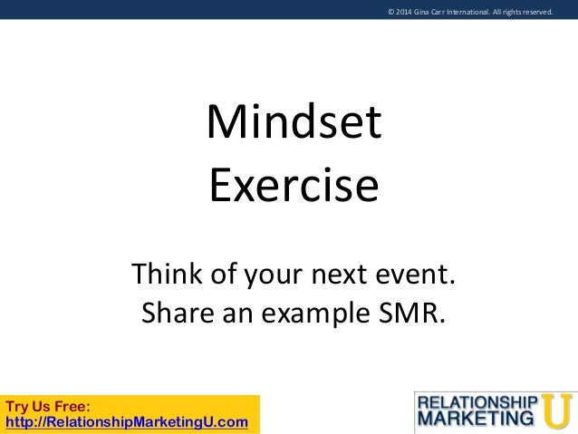 © 2014 Gina Carr International. All rights reserved.  Mindset Exercise Think of your next event. Share an example SMR. Try...
