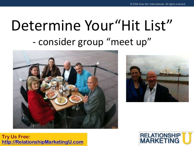 """© 2014 Gina Carr International. All rights reserved.  Determine Your""""Hit List"""" - consider group """"meet up""""  Try Us Free: ht..."""