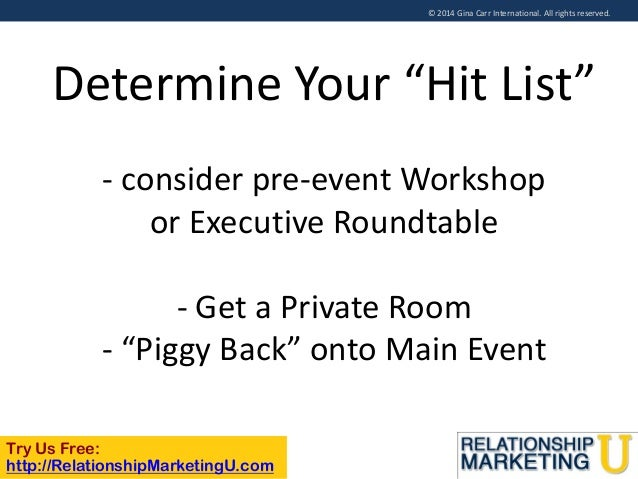 """© 2014 Gina Carr International. All rights reserved.  Determine Your """"Hit List"""" - consider pre-event Workshop or Executive..."""