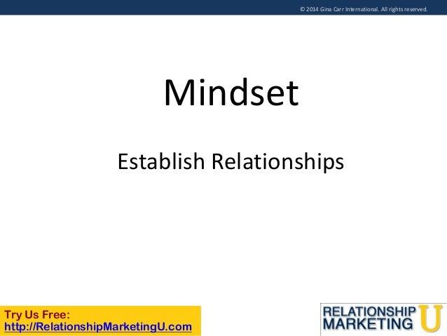 © 2014 Gina Carr International. All rights reserved.  Mindset Establish Relationships  Try Us Free: http://RelationshipMar...