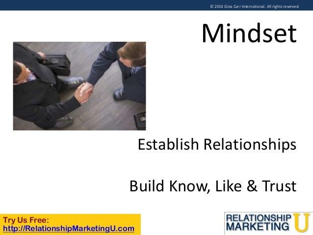 © 2014 Gina Carr International. All rights reserved.  Mindset  Establish Relationships  Build Know, Like & Trust Try Us Fr...