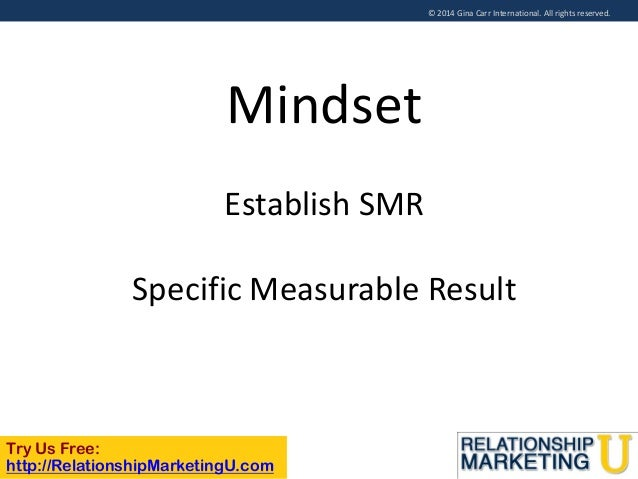 © 2014 Gina Carr International. All rights reserved.  Mindset Establish SMR  Specific Measurable Result  Try Us Free: http...