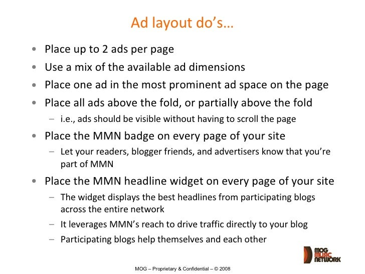 MMN Ad Placement Guidelines Slide 2