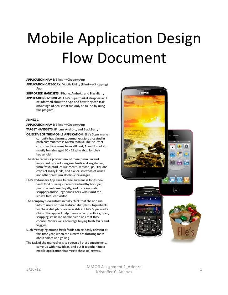 Mobile Applica,on Design     Flow Document APPLICATION NAME: Elles myGrocery App APPLICATION CATEGOR...