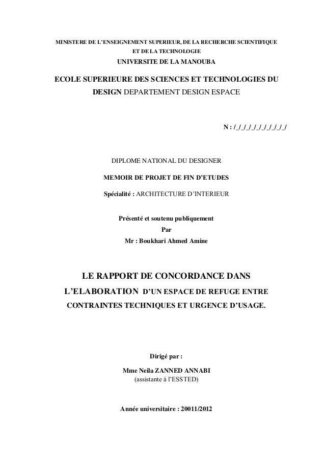 MINISTERE DE L'ENSEIGNEMENT SUPERIEUR, DE LA RECHERCHE SCIENTIFIQUE ET DE LA TECHNOLOGIE UNIVERSITE DE LA MANOUBA ECOLE SU...
