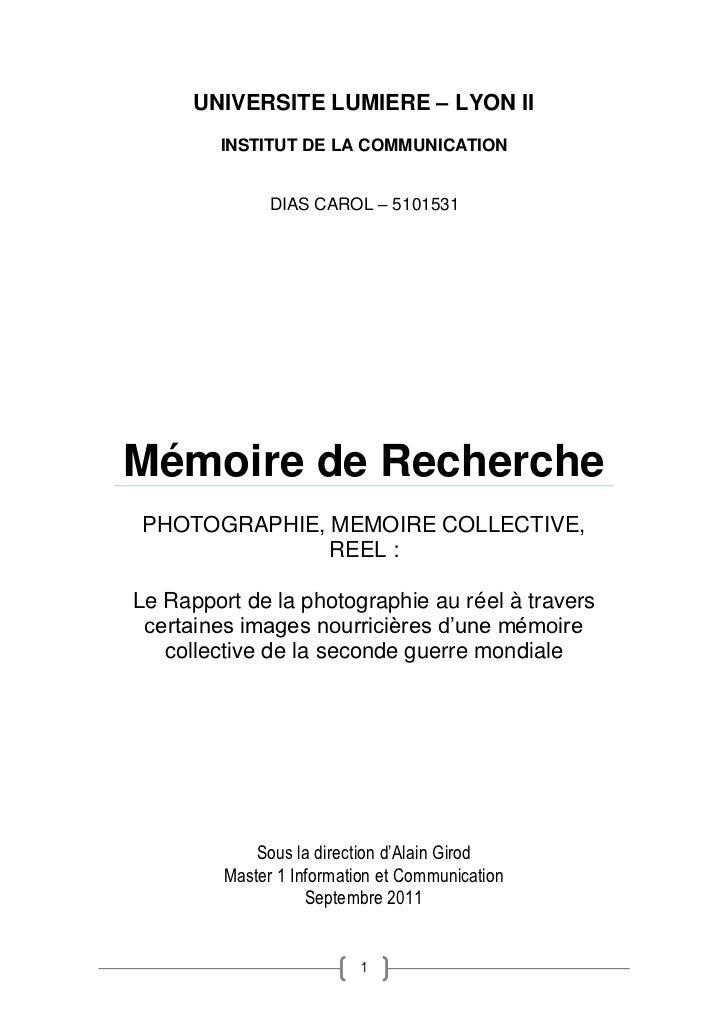 UNIVERSITE LUMIERE – LYON II        INSTITUT DE LA COMMUNICATION               DIAS CAROL – 5101531Mémoire de RecherchePHO...