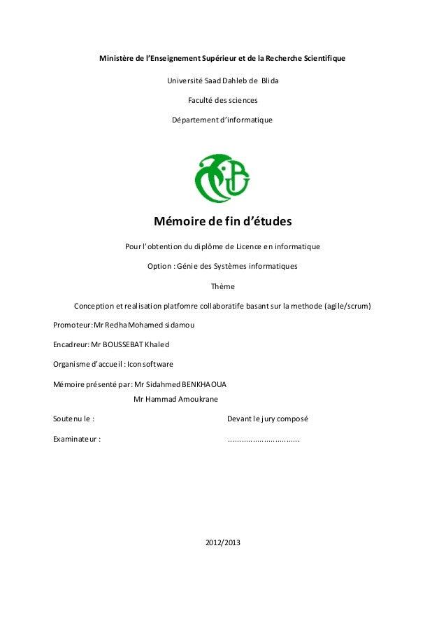 Ministère de l'Enseignement Supérieur et de la Recherche Scientifique Université Saad Dahleb de Blida Faculté des sciences...