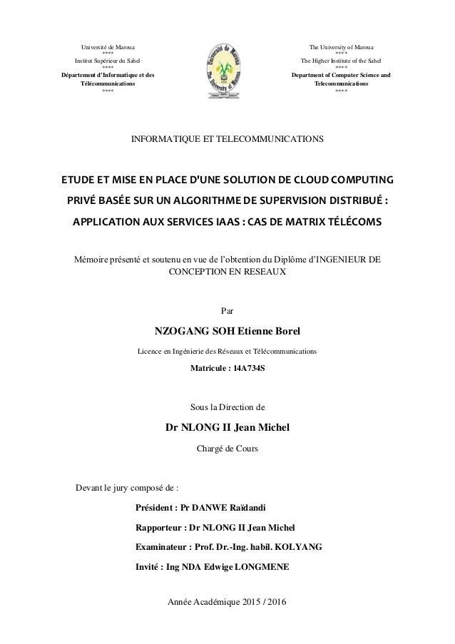 Etude Et Mise En Place D Une Solution De Cloud Computing