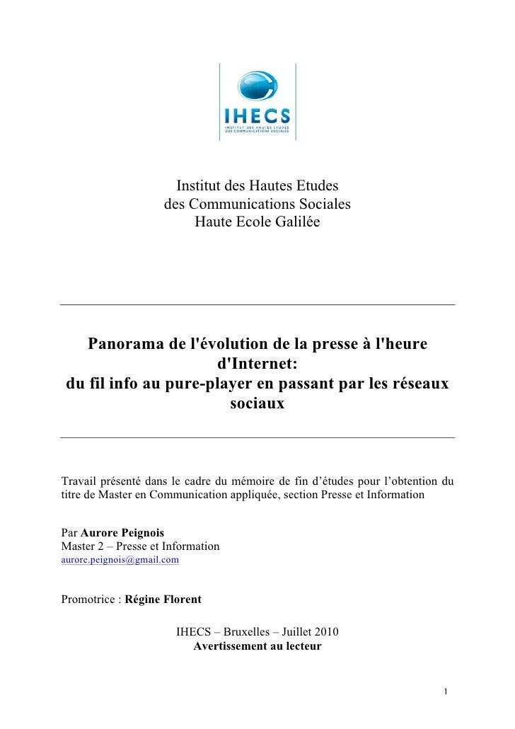 Institut des Hautes Etudes                     des Communications Sociales                          Haute Ecole Galilée   ...