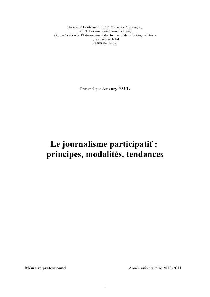 Université Bordeaux 3, I.U.T. Michel de Montaigne,                              D.U.T. Information-Communication,         ...