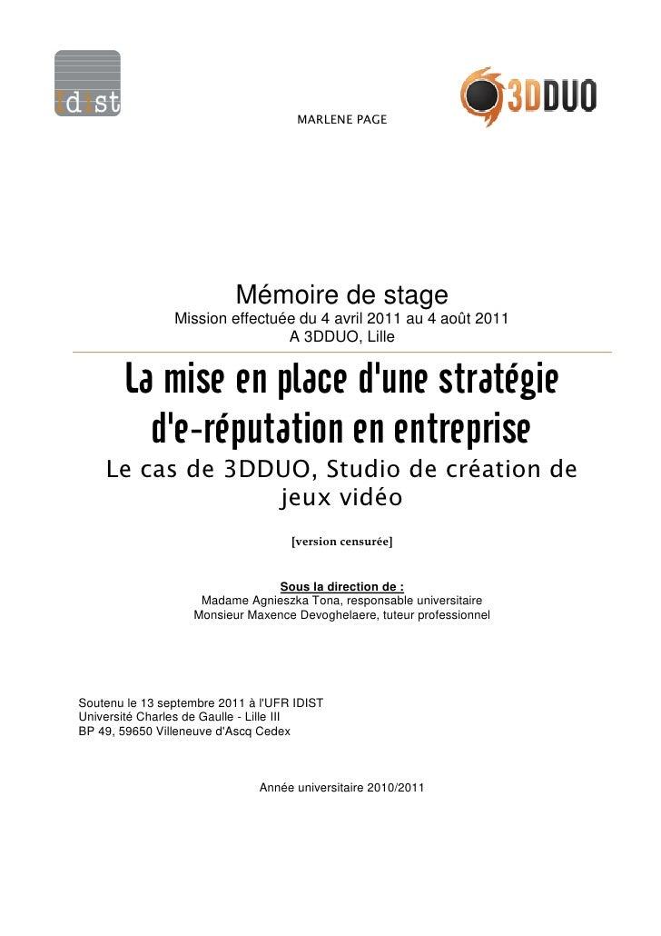 MARLENE PAGE                          Mémoire de stage                Mission effectuée du 4 avril 2011 au 4 août 2011    ...