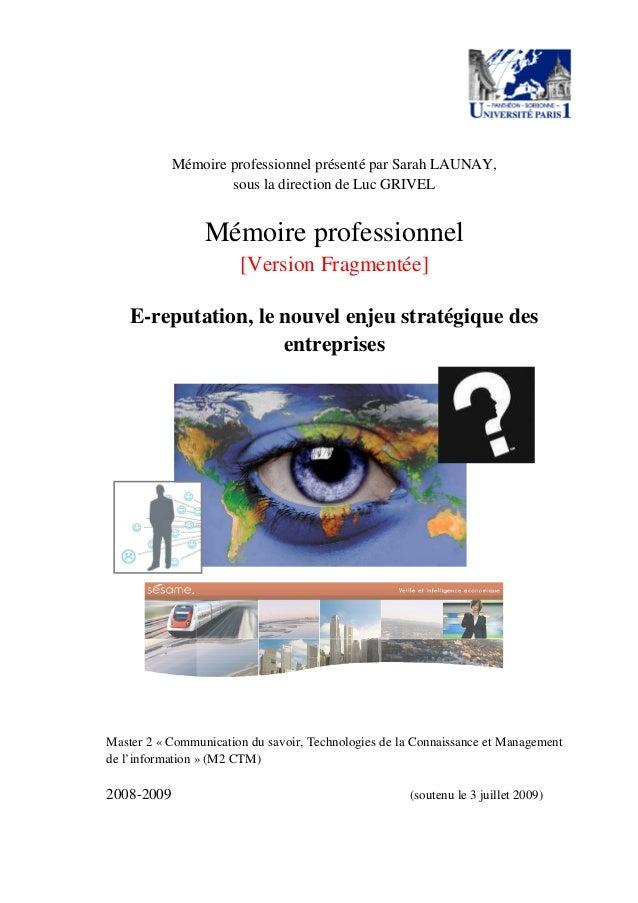 Mémoire professionnel présenté par Sarah LAUNAY, sous la direction de Luc GRIVEL Mémoire professionnel [Version Fragmentée...