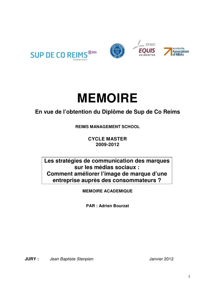 MEMOIRE    En vue de l'obtention du Diplôme de Sup de Co Reims                      REIMS MANAGEMENT SCHOOL               ...