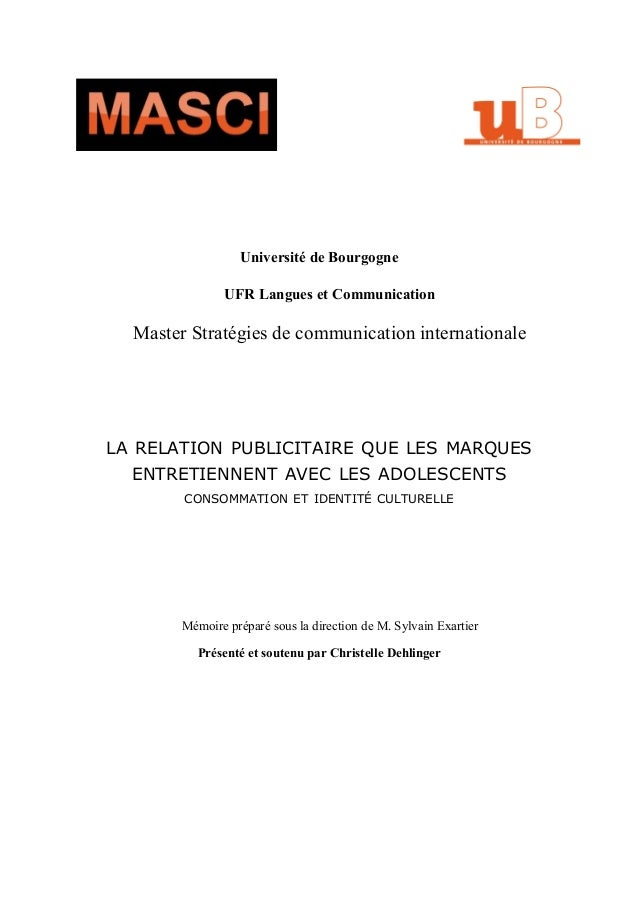 Université de Bourgogne                UFR Langues et Communication  Master Stratégies de communication internationaleLA R...