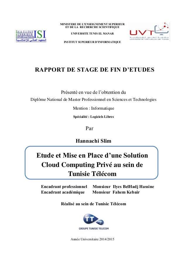 RAPPORT DE STAGE DE FIN D'ETUDES Présenté en vue de l'obtention du Diplôme National de Master Professionnel en Sciences et...