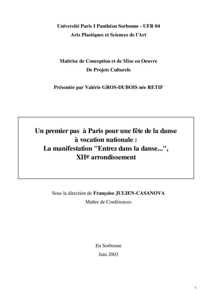 Université Paris I Panthéon Sorbonne - UFR 04             Arts Plastiques et Sciences de l'Art             Maîtrise de Con...
