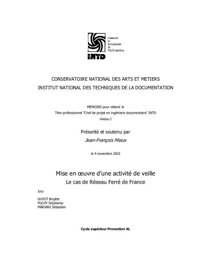 CONSERVATOIRE NATIONAL DES ARTS ET METIERSINSTITUT NATIONAL DES TECHNIQUES DE LA DOCUMENTATIONMEMOIRE pour obtenir leTitre...