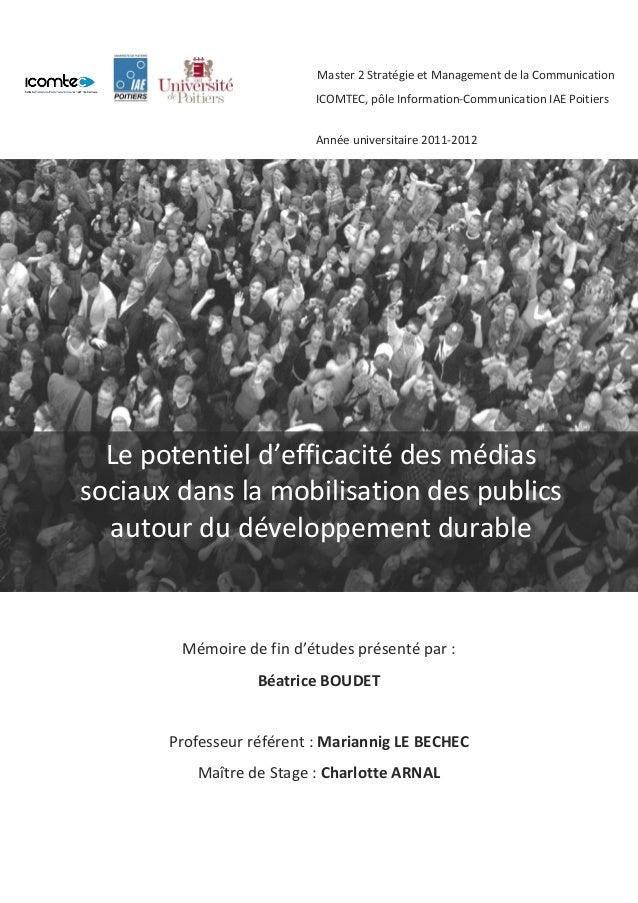 Mémoire de fin d'études présenté par :  Béatrice BOUDET  Professeur référent : Mariannig LE BECHEC  Maître de Stage : Char...
