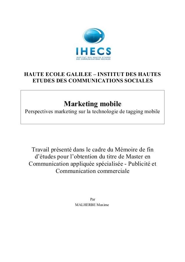HAUTE ECOLE GALILEE – INSTITUT DES HAUTES  ETUDES DES COMMUNICATIONS SOCIALES                Marketing mobilePerspectives ...
