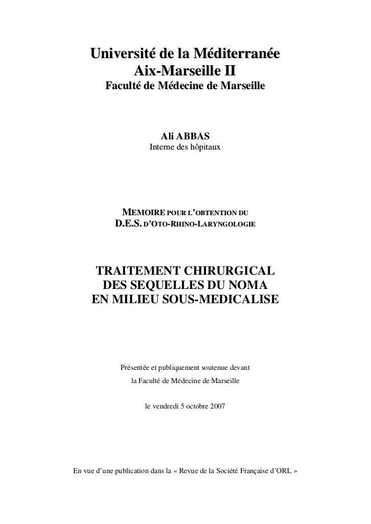 Université de la Méditerranée           Aix-Marseille II          Faculté de Médecine de Marseille                        ...