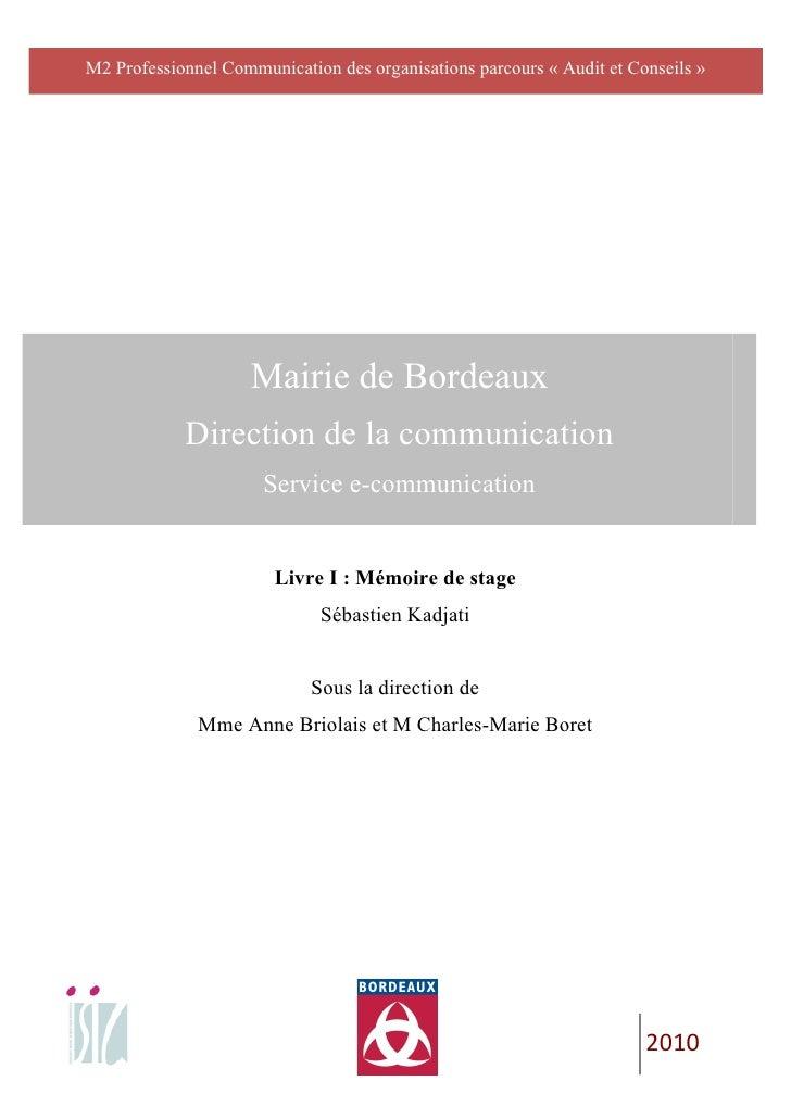 M2 Professionnel Communication des organisations parcours « Audit et Conseils »                                       ...