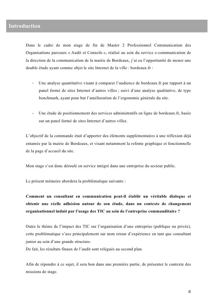Rapport De Stage Mairie Exemple