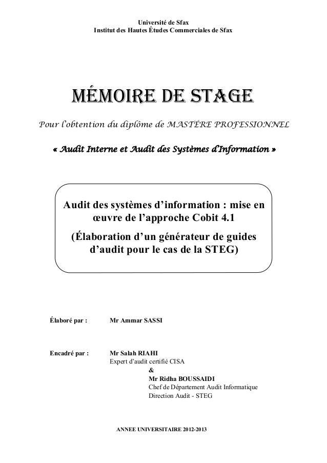 Audit des systèmes d'information : mise en œuvre de l'approche Cobit 4.1 (Élaboration d'un générateur de guides d'audit po...