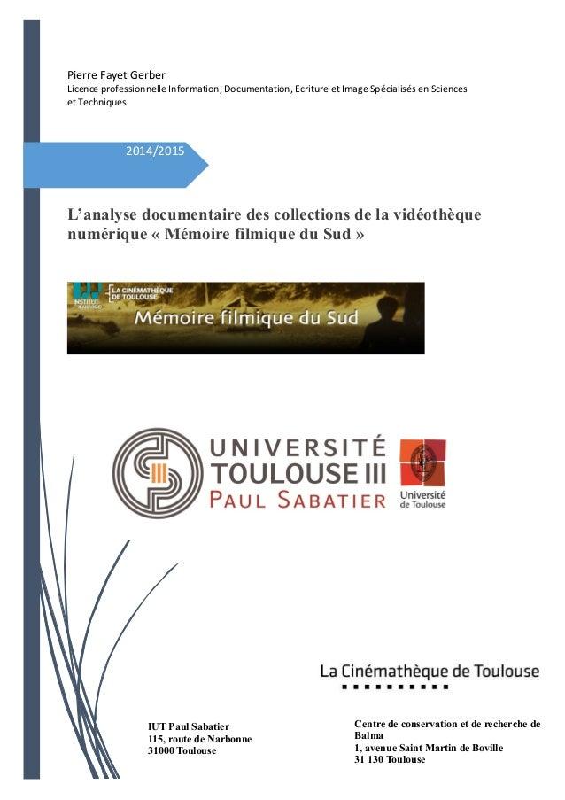 Pierre Fayet Gerber Licence professionnelle Information, Documentation, Ecriture et Image Spécialisés en Sciences et Techn...