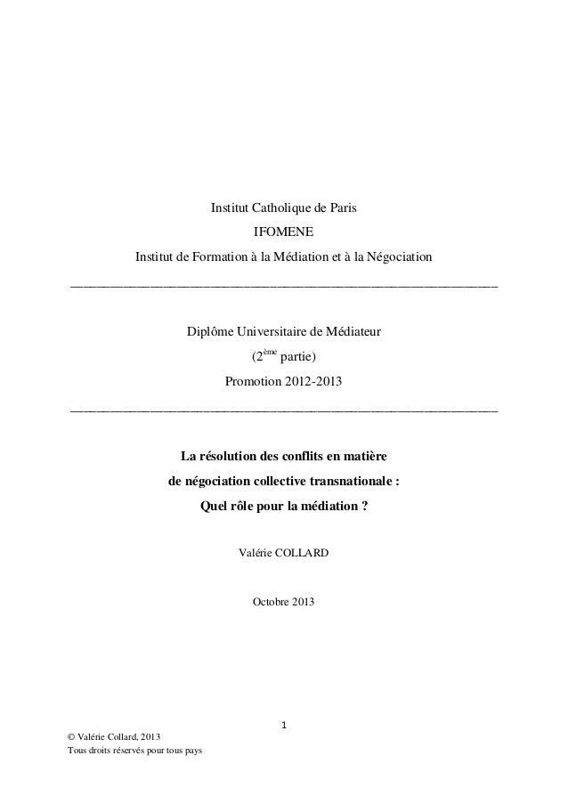 Institut Catholique de Paris IFOMENE Institut de Formation à la Médiation et à la Négociation ____________________________...