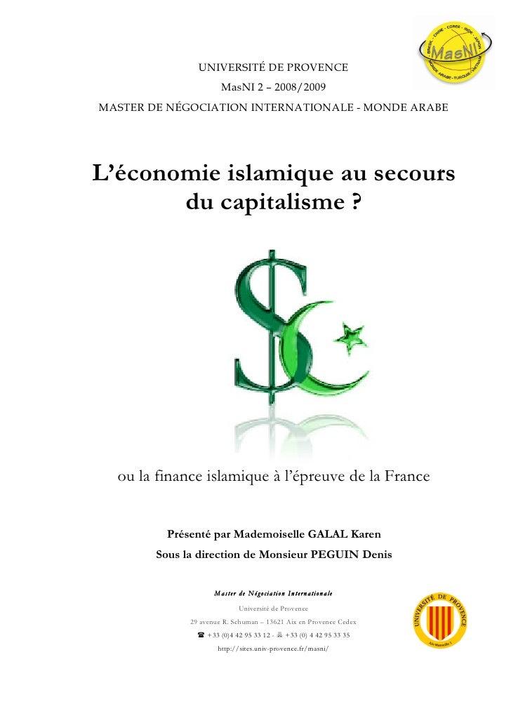 L\'économie islamique au secours du capitalisme ? Ou la finance islamique à l\'épreuve de la France