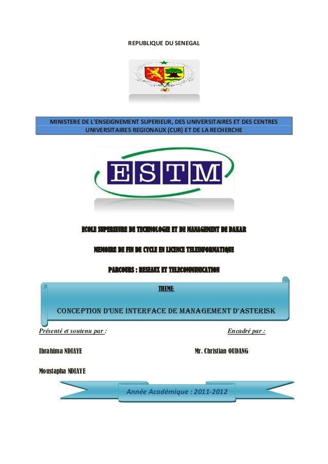 REPUBLIQUE DU SENEGAL    MINISTERE DE L'ENSEIGNEMENT SUPERIEUR, DES UNIVERSITAIRES ET DES CENTRES               UNIVERSITA...