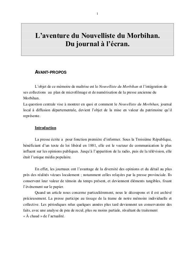 L aventure du nouvelliste du morbihan du journal l cran - Presse ancienne morbihan ...