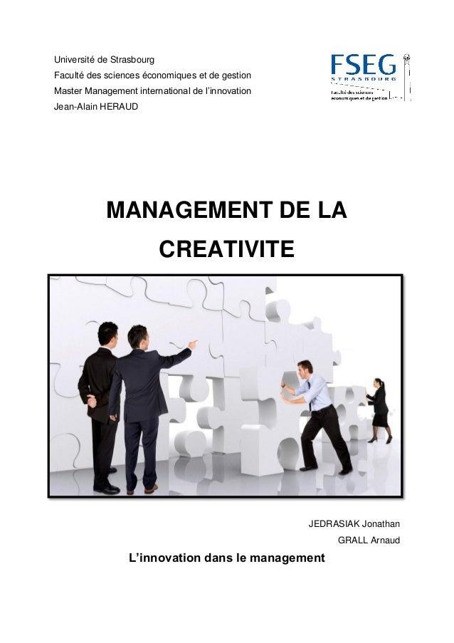 Université de Strasbourg Faculté des sciences économiques et de gestion Master Management international de l'innovation Je...