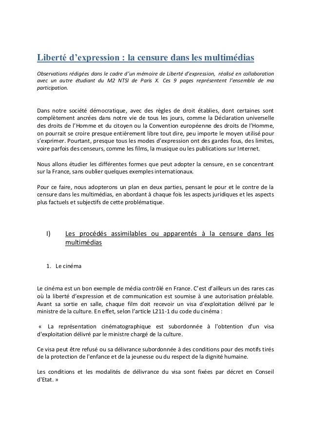 Liberté d'expression : la censure dans les multimédias Observations rédigées dans le cadre d'un mémoire de Liberté d'expre...