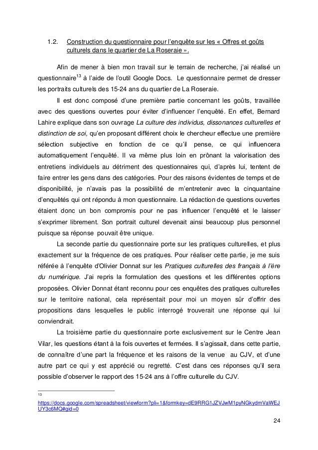 24 1.2. Construction du questionnaire pour l'enquête sur les « Offres et goûts culturels dans le quartier de La Roseraie »...