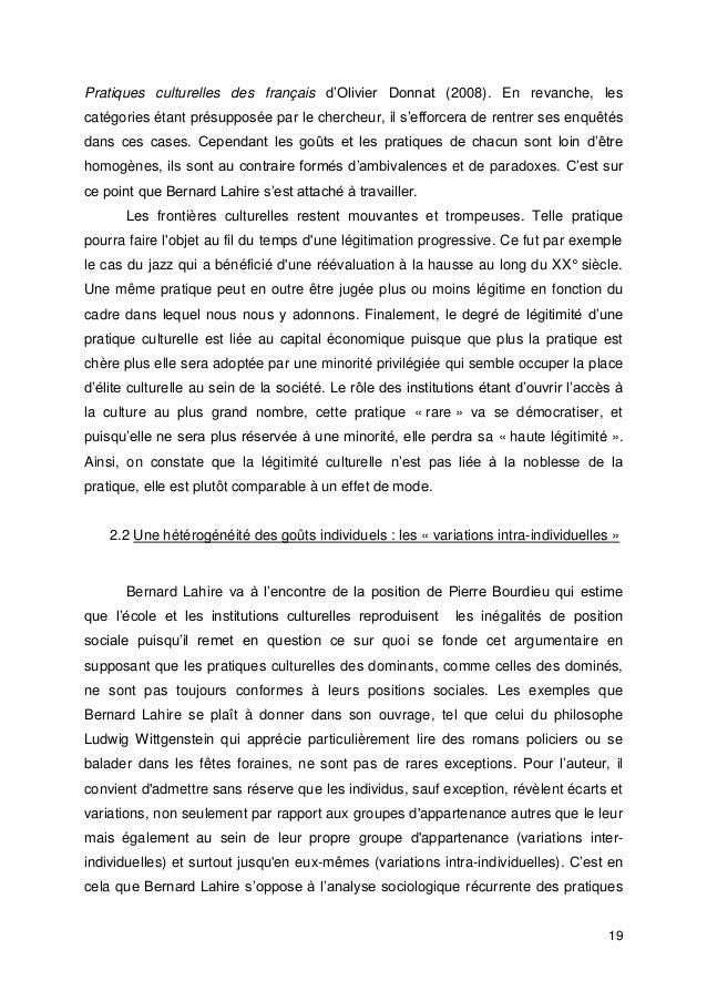 19 Pratiques culturelles des français d'Olivier Donnat (2008). En revanche, les catégories étant présupposée par le cherch...