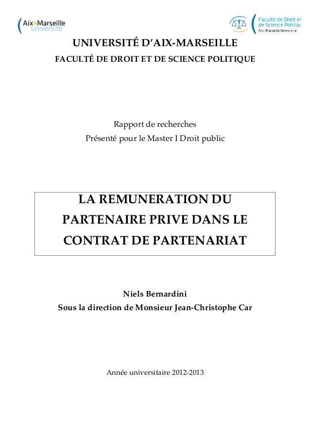 UNIVERSITÉ D'AIX-MARSEILLE FACULTÉ DE DROIT ET DE SCIENCE POLITIQUE Rapport de recherches Présenté pour le Master I Droit ...