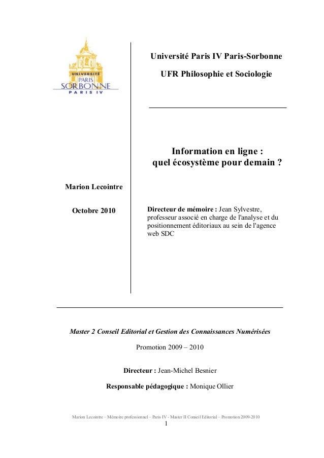 Marion Lecointre – Mémoire professionnel – Paris IV - Master II Conseil Editorial – Promotion 2009-2010 1 Université Paris...
