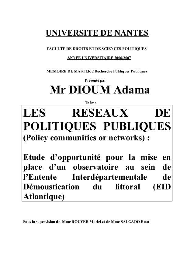 UNIVERSITE DE NANTES FACULTE DE DROITB ET DE SCIENCES POLITIQUES ANNEE UNIVERSITAIRE 2006/2007 MEMOIRE DE MASTER 2 Recherc...
