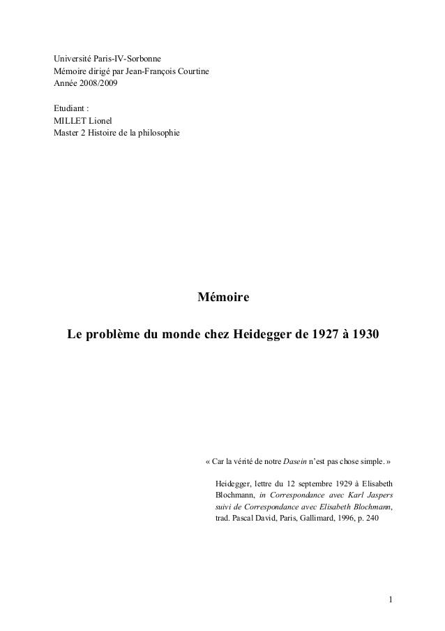 Très Mémoire de master de philosophie : Heidegger et le problème du monde … HN76