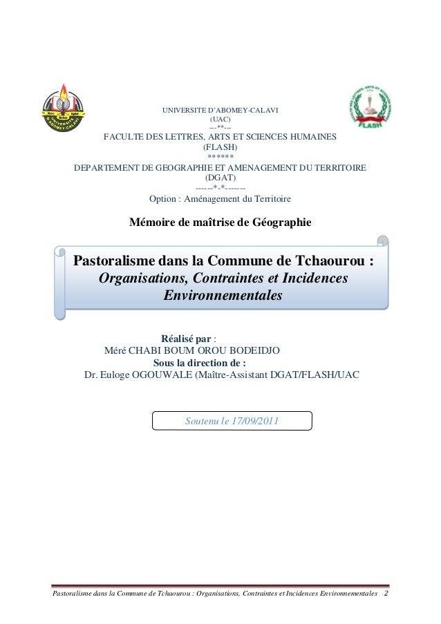Pastoralisme dans la Commune de Tchaourou : Organisations, Contraintes et Incidences Environnementales 2 UNIVERSITE D'ABOM...