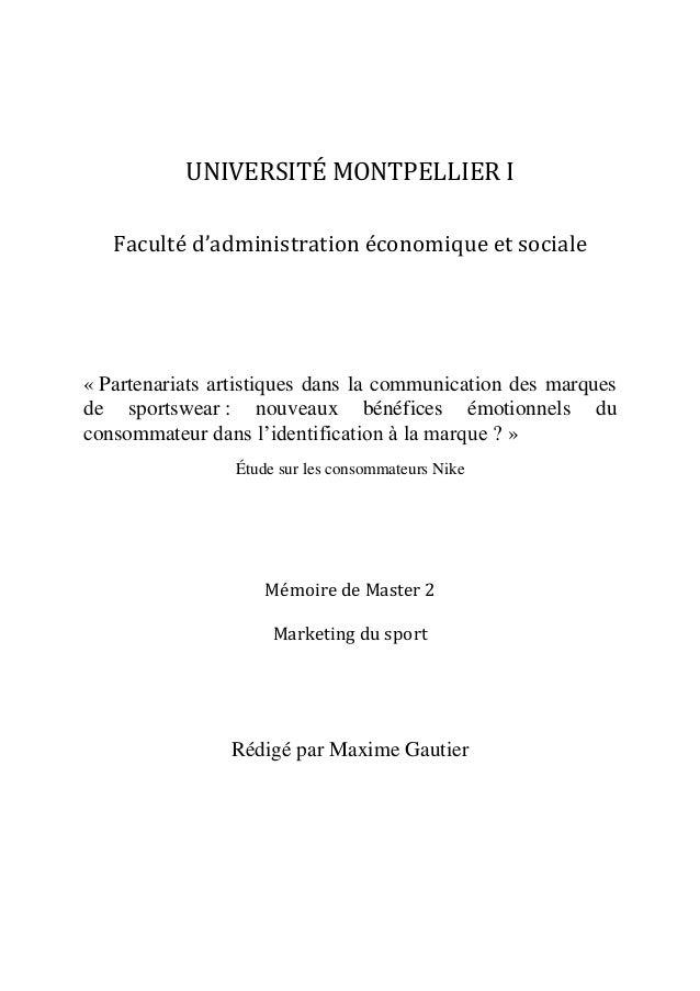 UNIVERSITÉ MONTPELLIER I Faculté d'administration économique et sociale  « Partenariats artistiques dans la communication ...