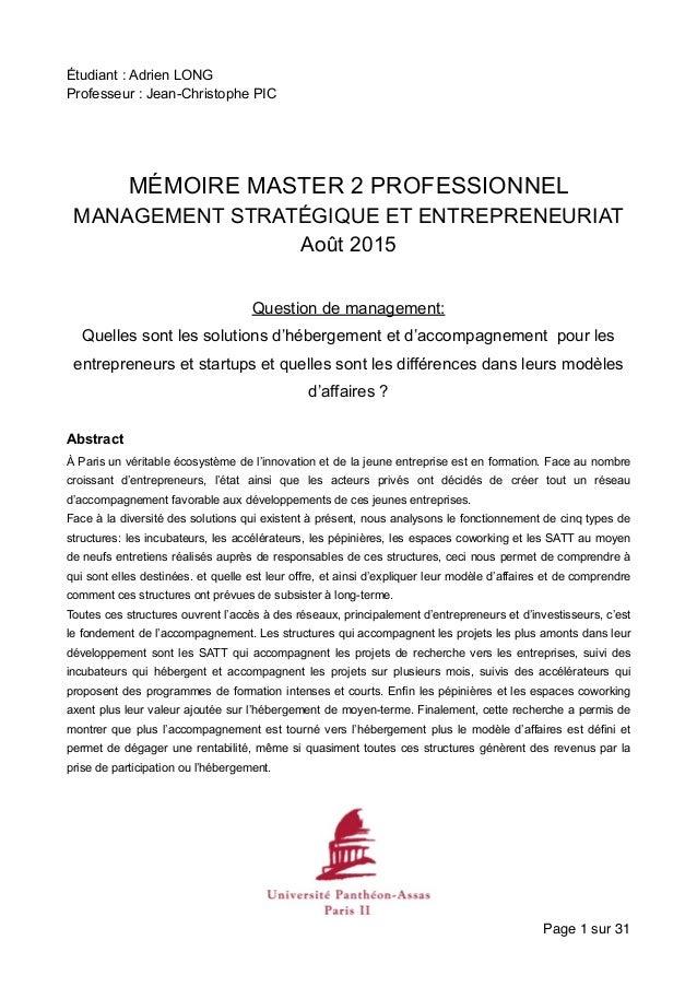 Étudiant : Adrien LONG Professeur : Jean-Christophe PIC MÉMOIRE MASTER 2 PROFESSIONNEL MANAGEMENT STRATÉGIQUE ET ENTREPREN...