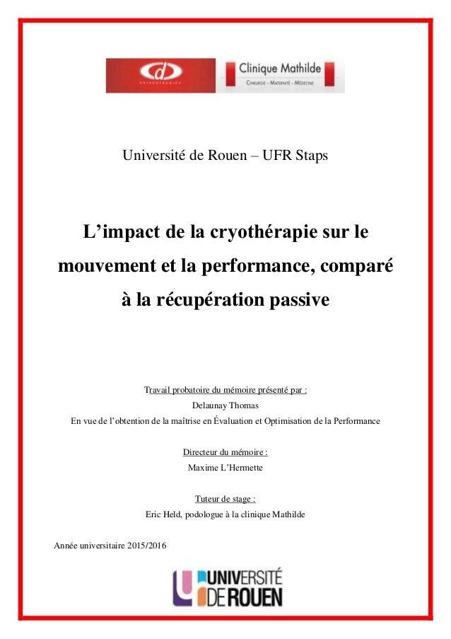 2972a5ada4b888 Université de Rouen – UFR Staps L impact de la cryothérapie sur le  mouvement et ...