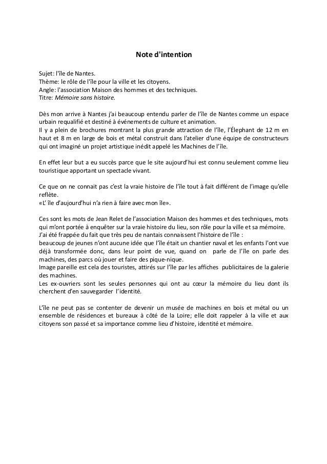 Note d'intention Sujet: l'île de Nantes. Thème: le rôle de l'île pour la ville et les citoyens. Angle: l'association Maiso...