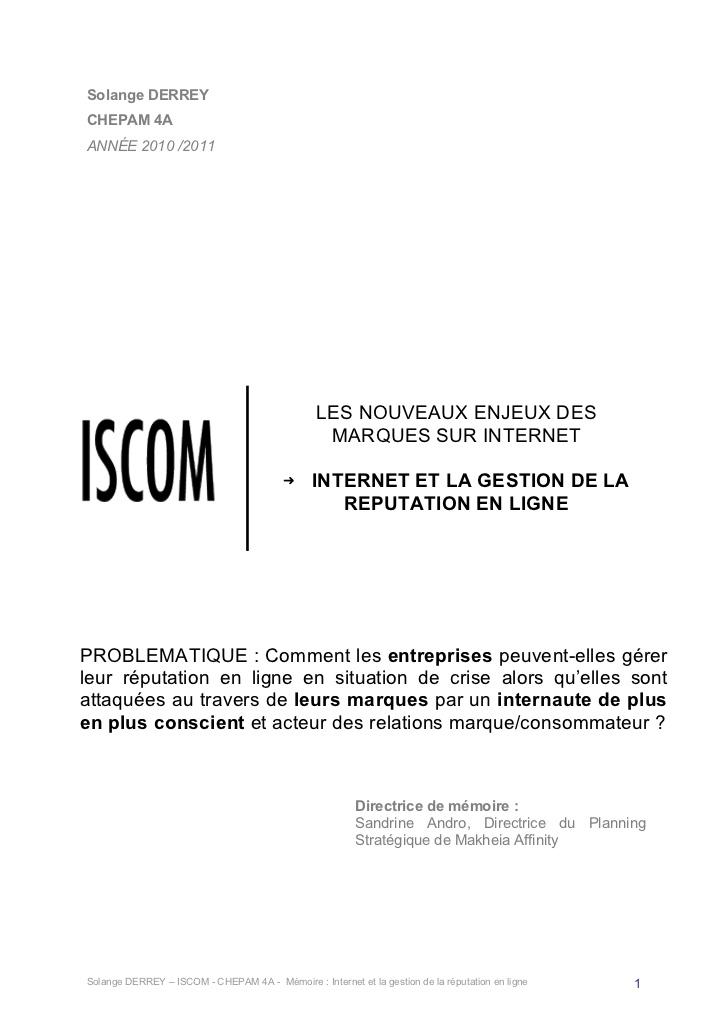 Bien-aimé L'é-réputation par Solange DERREY - Mémoire de Master 1 MR77