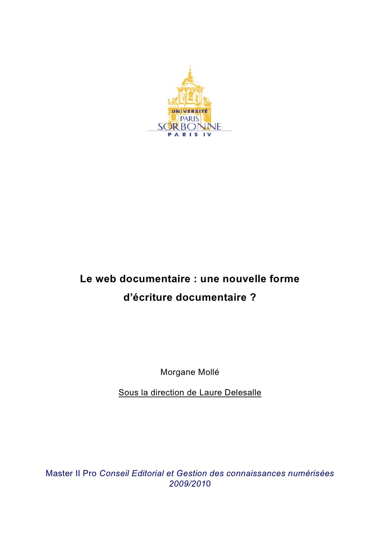 """Mémoire Professionnel : """"Le web documentaire : une nouvelle forme d\'écriture documentaire ?"""""""