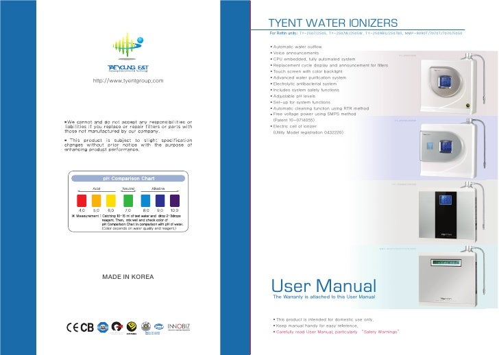 TYENT WATER IONIZERS                            For Rettin units: TY-2507/2505, TY-2507W/2505W, TY-2509BS/2507BS, MMP-9090...