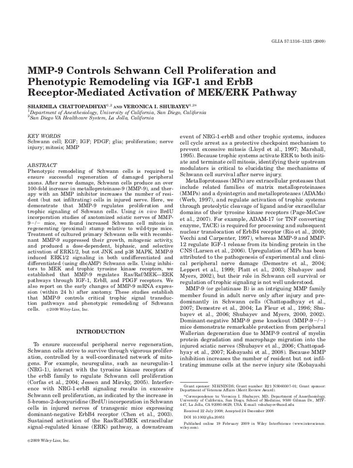 GLIA 57:1316–1325 (2009)     MMP-9 Controls Schwann Cell Proliferation and Phenotypic Remodeling via IGF-1 and ErbB Recept...